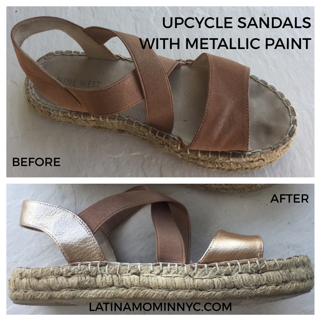 c5185d7417d0c Upcycle Leather Sandals with Metallic Paint - Latina Mom in NYC